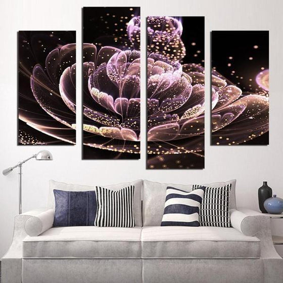 Glowing Purple Flower Canvas Wall Art Living Room