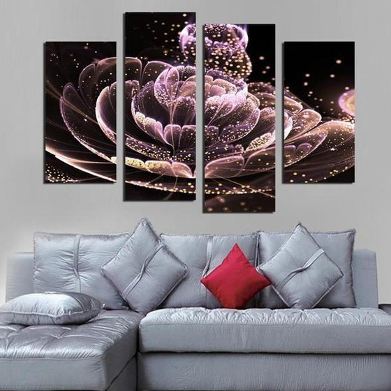 Glowing Purple Flower Canvas Wall Art Home Decor