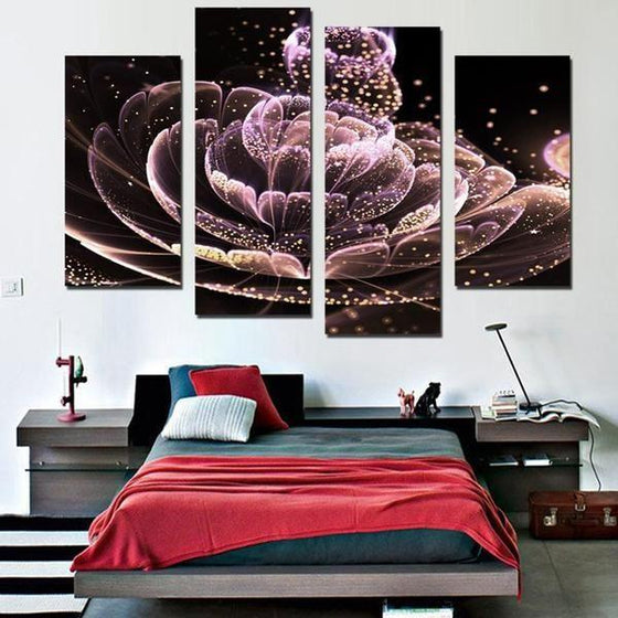 Glowing Purple Flower Canvas Wall Art Bedroom