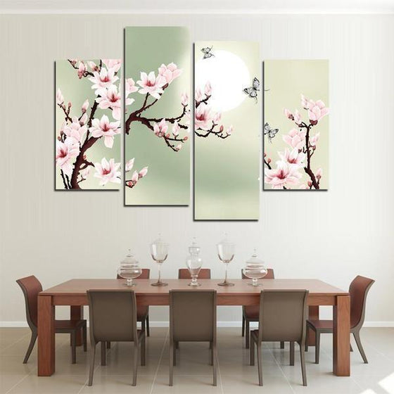 Cherry Blossoms With Sunlight Canvas Wall Art Dining Room