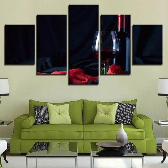 Fine Red Wine Bottle Canvas Wall Art Living Room