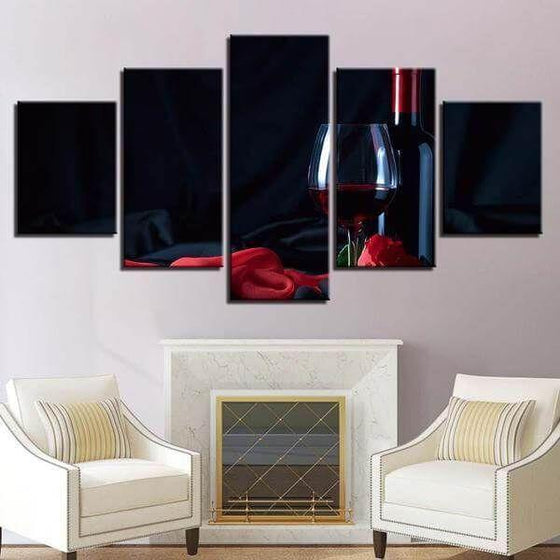 Fine Red Wine Bottle Canvas Wall Art Decor