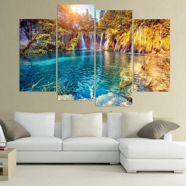 relaxing forest waterfall canvas wall art