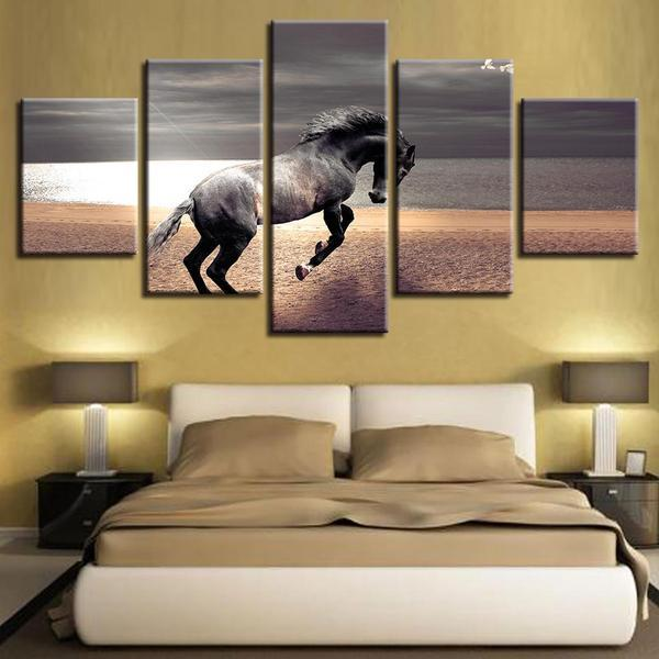Animal Horse Running Landscape Canvas Wall Art — canvasx.net