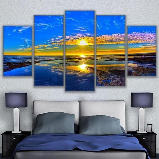 Beach Landscape & Sunset View Canvas Wall Art Bedroom Decor
