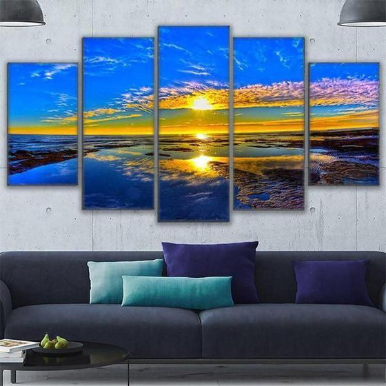 Beach Landscape & Sunset View Canvas Wall Art Living Room