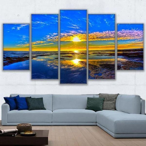 Beach Landscape & Sunset View Canvas Wall Art Decor
