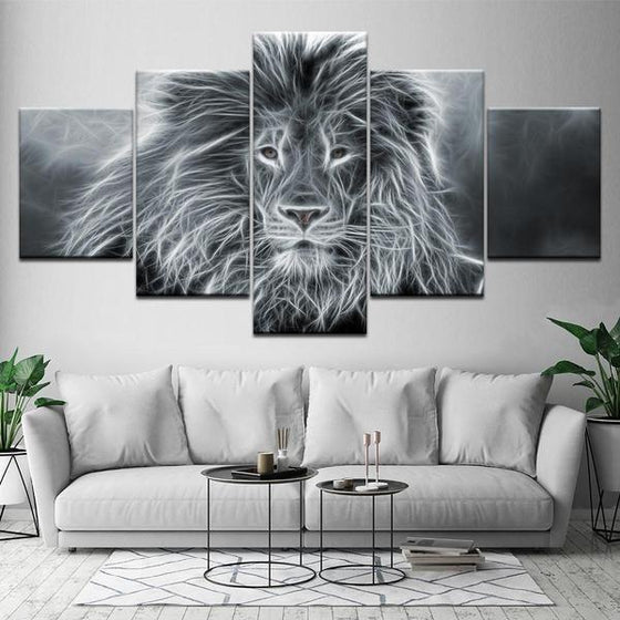 Wall Art Lion Black And White Decor