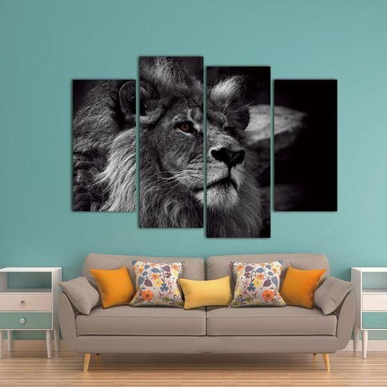 Black & White Lion Canvas Wall Art for Nursery