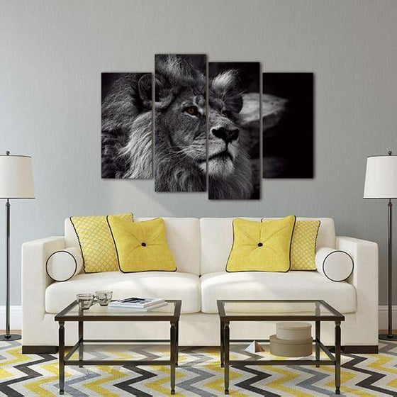 Black & White Lion Canvas Wall Art Living Room Decor