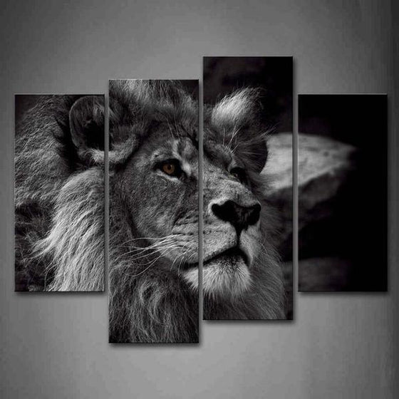 Black & White Lion Canvas Wall Art