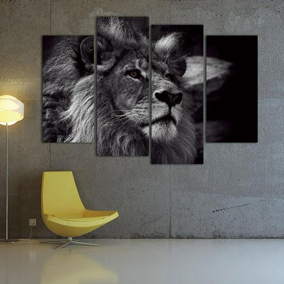 Black & White Lion Canvas Wall Art Decor