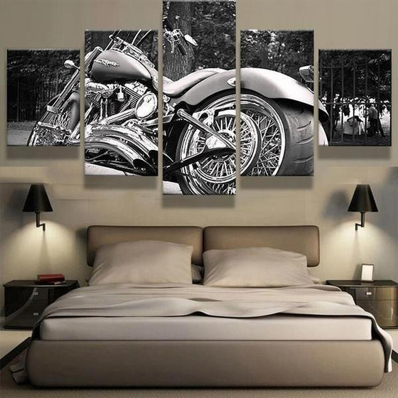 Black And White Motorcycle Canvas Wall Art Bedroom