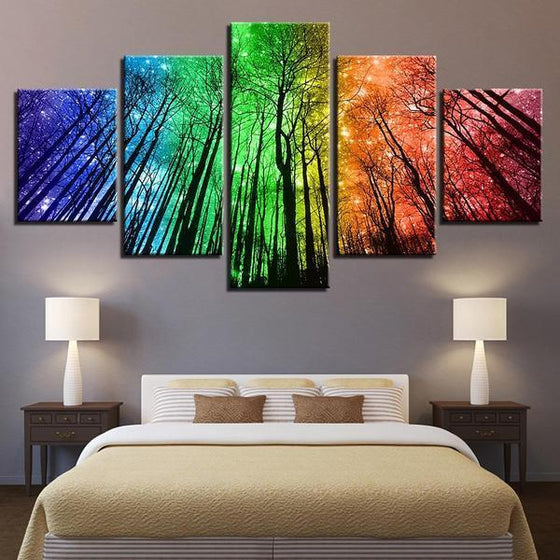 Colorful Forest Night Sky Canvas Wall Art Bedroom