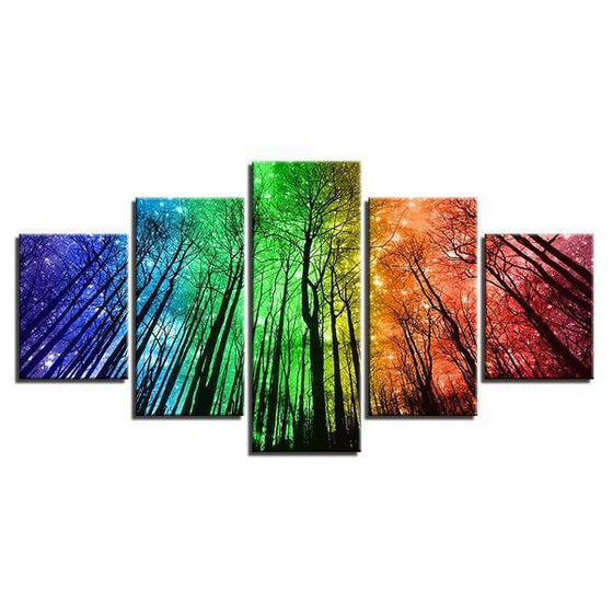 Colorful Forest Night Sky Canvas Wall Art Ideas