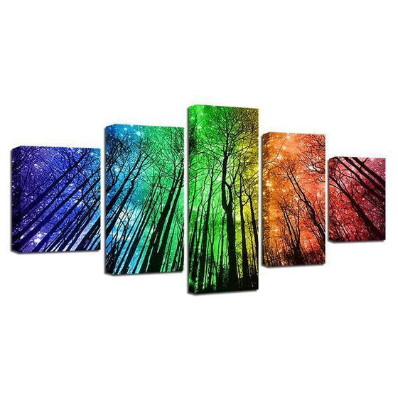 Colorful Forest Night Sky Canvas Wall Art Decor