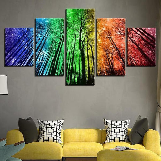 Colorful Forest Night Sky Canvas Wall Art Living Room