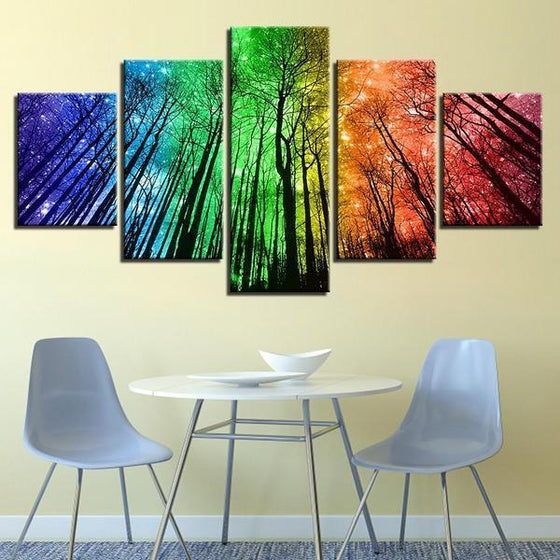 Colorful Forest Night Sky Canvas Wall Art Home Decor