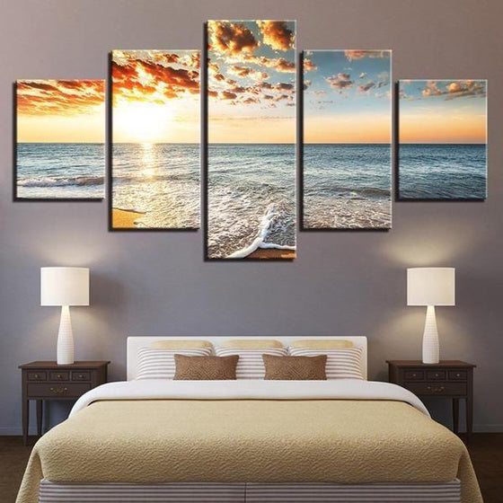 Beach Side Sunset View Canvas Wall Art Bedroom