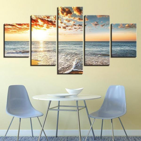 Beach Side Sunset View Canvas Wall Art restaurant