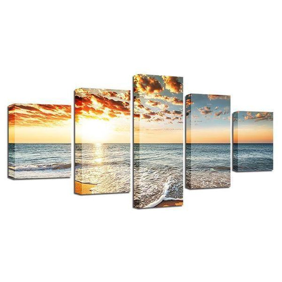 Beach Side Sunset View Canvas Wall Art Prints