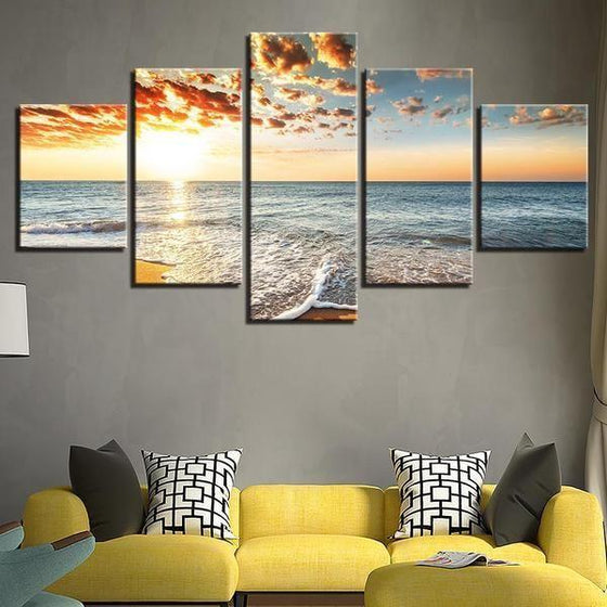 Beach Side Sunset View Canvas Wall Art Living Room Decor