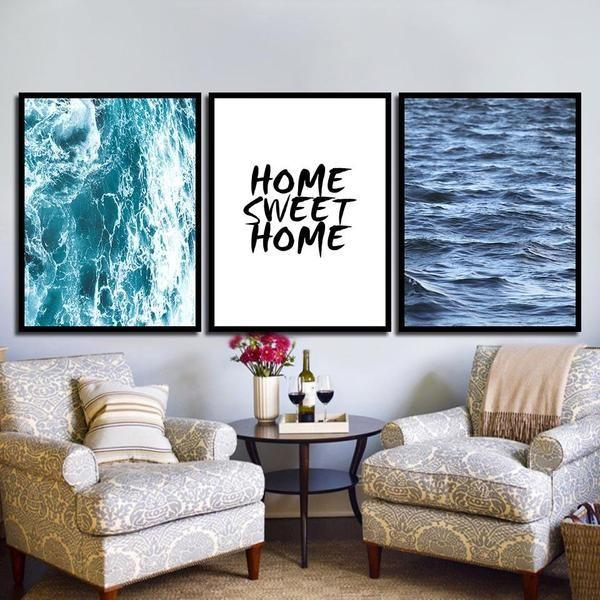Peaceful Home Sweet Home Quote Canvas Wall Art — canvasx.net
