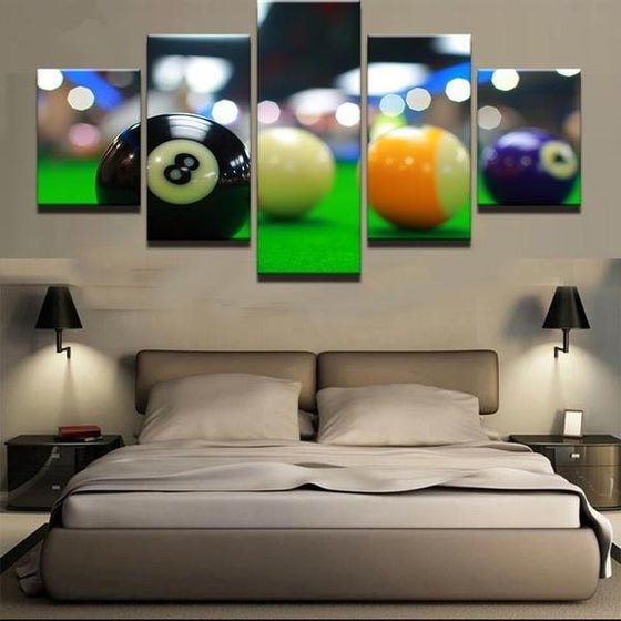 Color Billiards Blur Light Canvas Wall Art Bedroom