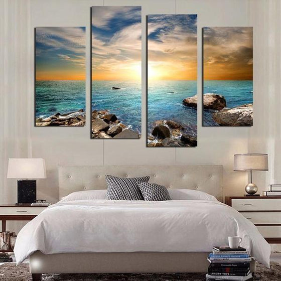 Calm Blue Sea & Sunset Canvas Wall Art Bedroom