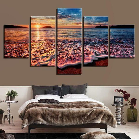 Foamy Beach Waves & Sunset Canvas Wall Art Bedroom