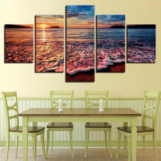 Foamy Beach Waves & Sunset Canvas Wall Art Dining Room