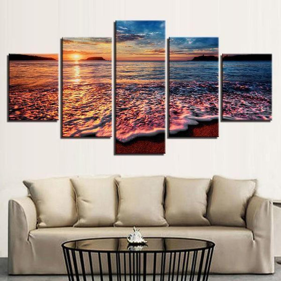Foamy Beach Waves & Sunset Canvas Wall Art Decor