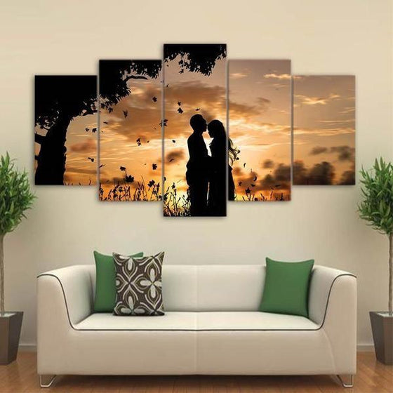 Couple Silhouette Under Sunset Canvas Wall Art Home Decor