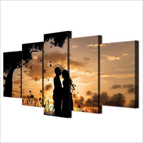 Couple Silhouette Under Sunset Canvas Wall Art Prints