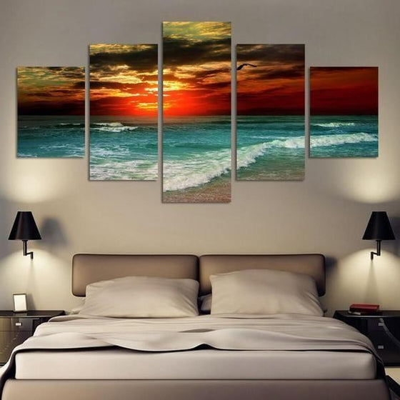 Beach Landscape & Sunset Canvas Wall Art bedroom Decor
