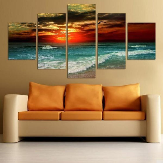 Beach Landscape & Sunset Canvas Wall Art Living Room
