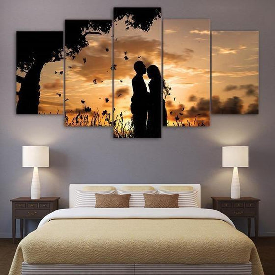 Couple Silhouette Under Sunset Canvas Wall Art Bedroom