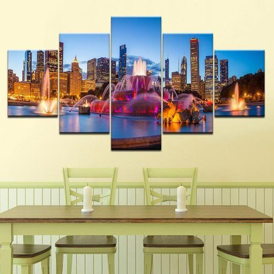 Buckingham Fountain Chicago Canvas Wall Art Dining Room
