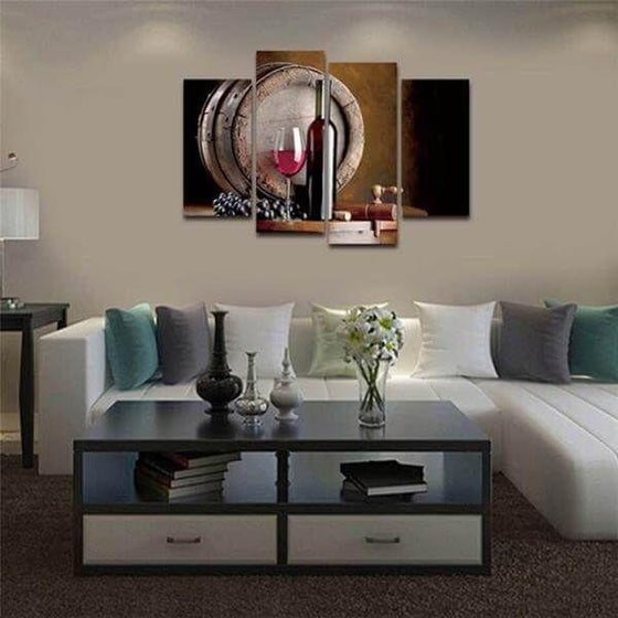 Red Wine And Barrel Canvas Wall Art For Living Room
