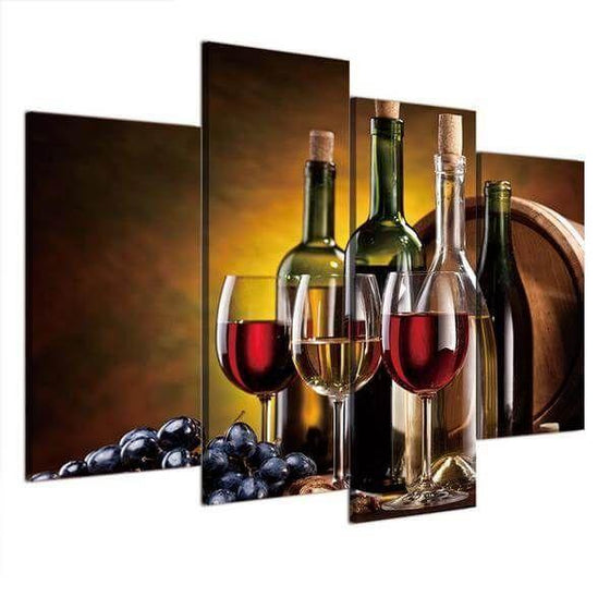 Wine Bottles And Glasses Canvas Wall Art Prints