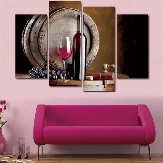 Red Wine And Barrel Canvas Wall Art Prints
