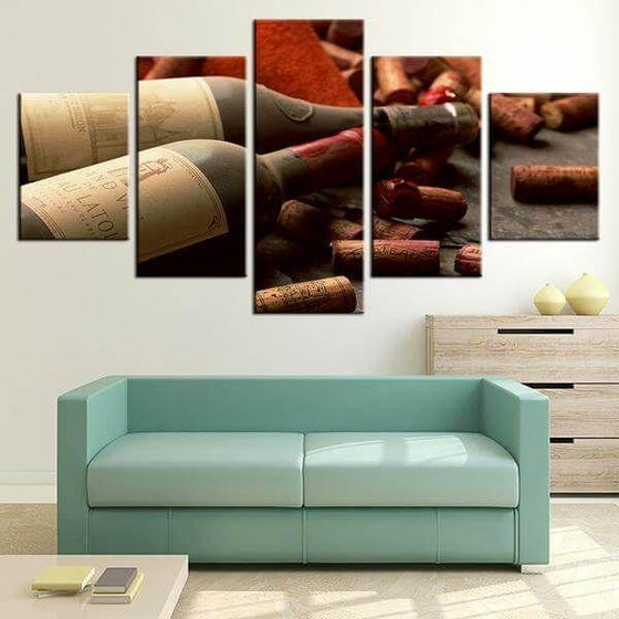 Corks & Wine Bottles Canvas Wall Art Home Decor Ideas