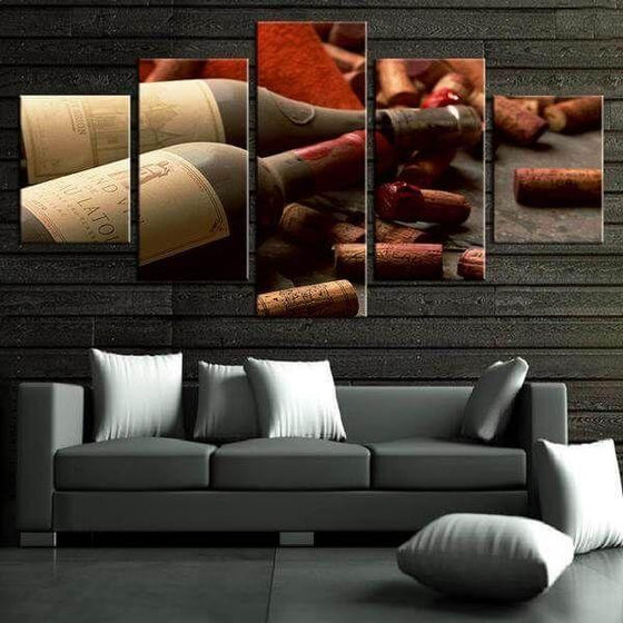 Corks & Wine Bottles Canvas Wall Art Home Decor