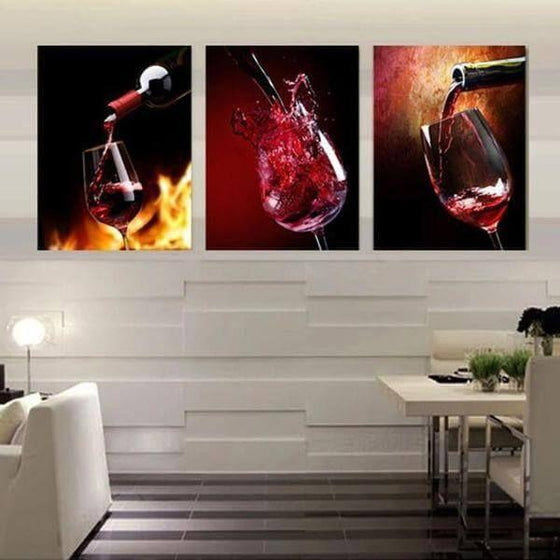 Glass Of Red Wine Canvas Wall Art Dining Room