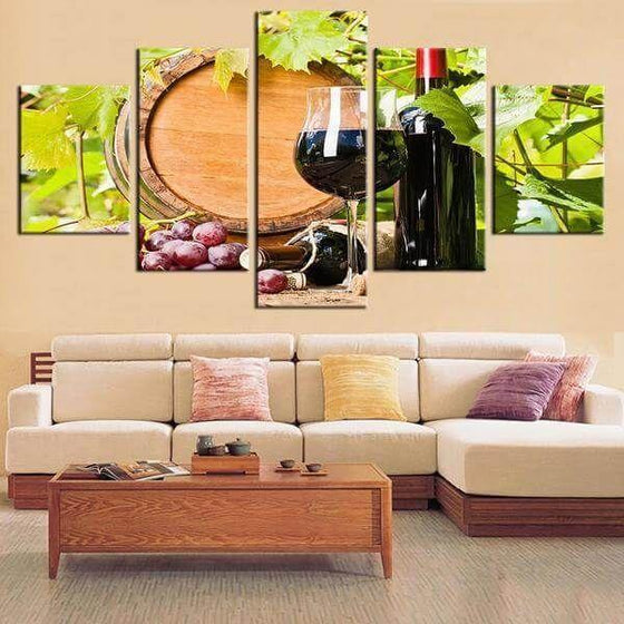 Red Grape Wine Canvas Wall Art For Living Room