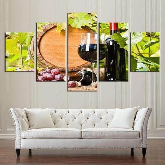 Red Grape Wine Canvas Wall Art