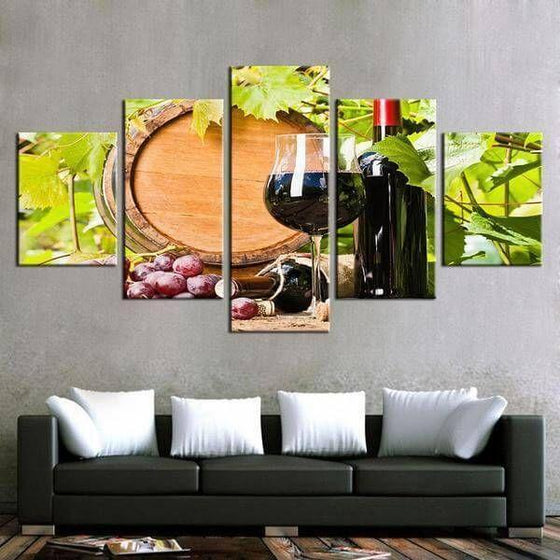 Red Grape Wine Canvas Wall Art For Outdoor