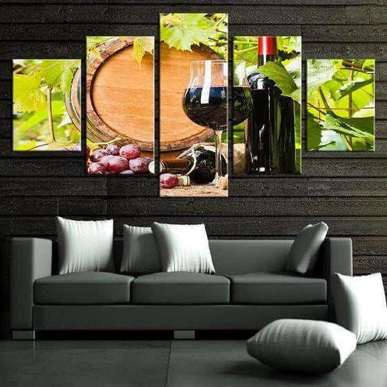Red Grape Wine Canvas Wall Art Decor