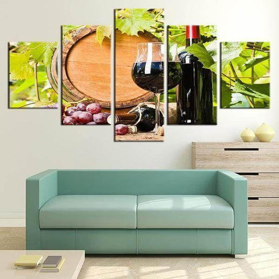 Red Grape Wine Canvas Wall Art For Bedroom