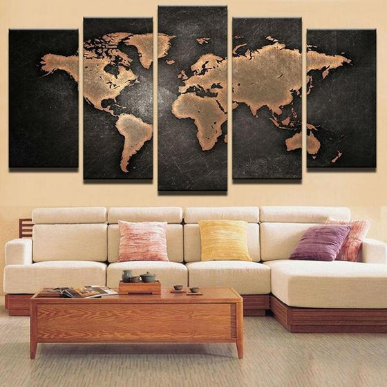 Wall Art World Map Metal Idea